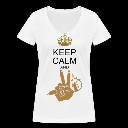 Shirt Keep Calm - Frauen Bio-T-Shirt mit V-Ausschnitt von Stanley & Stella