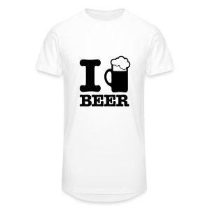 T-Shirt I Love Beer Blanc Homme - T-shirt long Homme