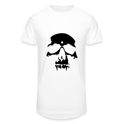 T-Shirt Skull Tête De Mort Blanc Homme - T-shirt long Homme
