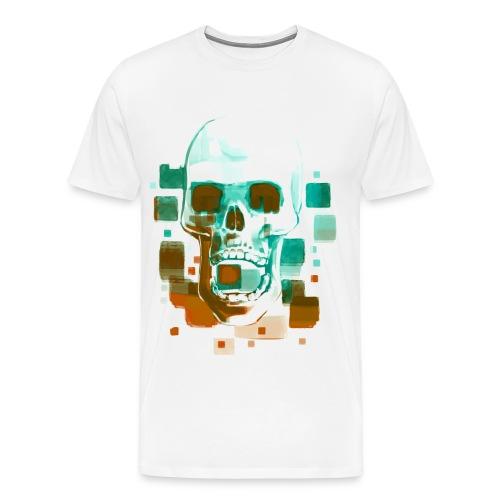 Cool Skull, Cyan & Orange - Men's premium T-shirt - Men's Premium T-Shirt