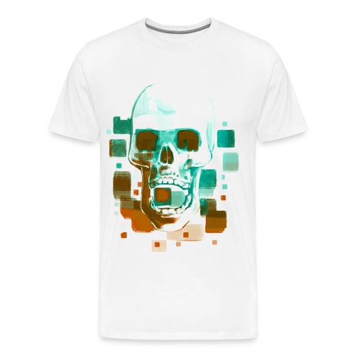Cool Skull, Cyan & Orange - Men's premium T-shirt - Men's Premium T-Shirt