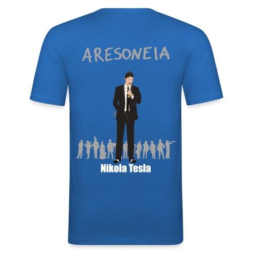 Aresoneia-Tesla(Weiß) - Herren-Slim-Fit-Shirt - Männer Slim Fit T-Shirt