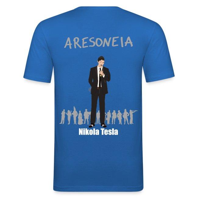 Aresoneia-Tesla(Weiß) - Herren-Slim-Fit-Shirt