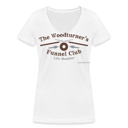 Lady's White V-Neck Funnel Club T-Shirt - Women's Organic V-Neck T-Shirt by Stanley & Stella