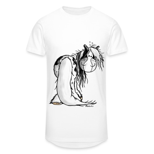 T-Shirt Cheval Humour Blanc Homme - T-shirt long Homme