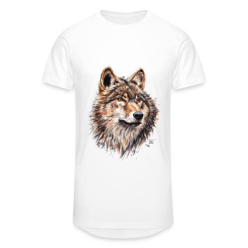 T-Shirt Loup Blanc Homme - T-shirt long Homme