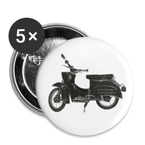 5er Set Buttons Kult Motorrad Schwalbe von Simson, schwarz auf weissem Untergrund - Buttons klein 25 mm