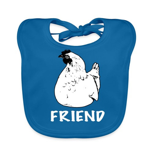 Hennie the chicken black on organic bib - more colours available - Baby Organic Bib
