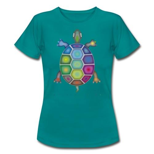 Frauen T-Shirt mit Farbenschildkröte - Frauen T-Shirt