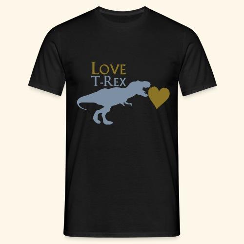 T-shirt homme love T-rex noir, doré et argenté - T-shirt Homme
