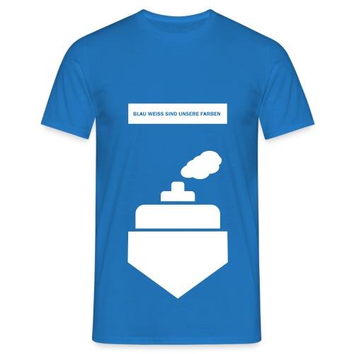 Blau-Weißer Dampfer - Herren T-Shirt - Männer T-Shirt