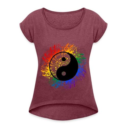 Einhorn - Frauen T-Shirt mit gerollten Ärmeln