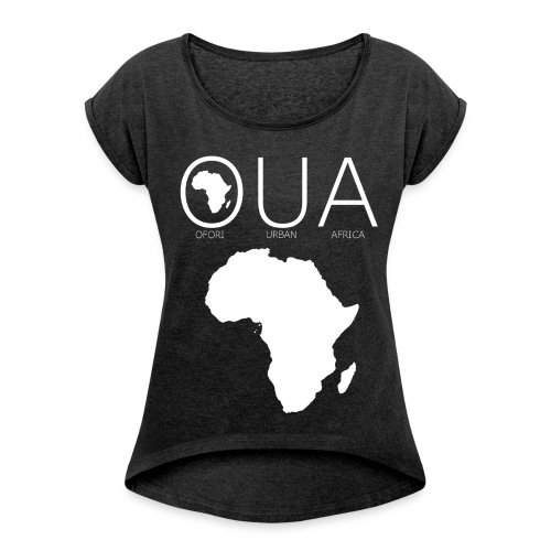OUA Dark Grey - Women's T-shirt with rolled up sleeves