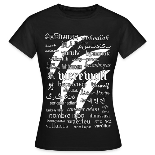 Werewolf in 33 Languages - Women's T-Shirt (Black Ver.) - Koszulka damska