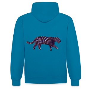 Jaguar in Stripes - Contrast Colour Hoodie