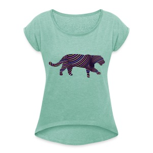 Jaguar in Stripes - Women's T-shirt with rolled up sleeves