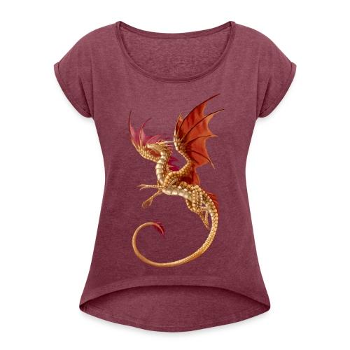 Camiseta con manga enrollada mujer