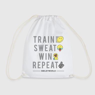 SmileyWorld Train Sweat Win Repeat - Turnbeutel