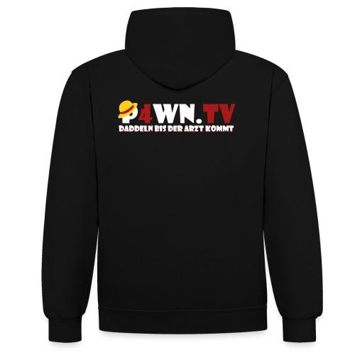 P4WN.TV - Hoodie Premium - Logo weiss - Kontrast-Hoodie