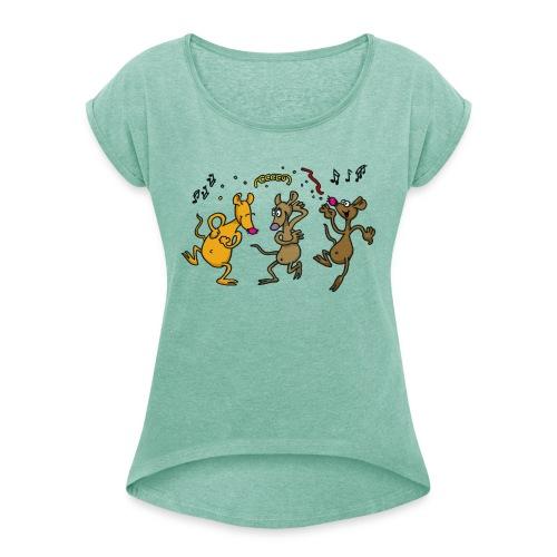 Partytime - Frauen T-Shirt mit gerollten Ärmeln