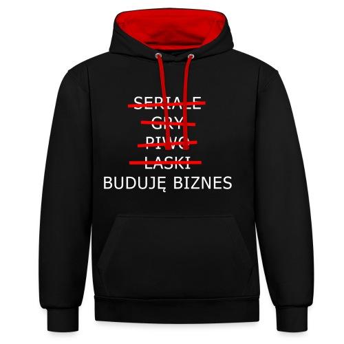 Buduję biznes - Bluza z kapturem z kontrastowymi elementami