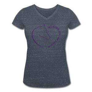 Front: Coeur, Back: Personalisierbar V-Shirt (Print Digital Violet) - Frauen Bio-T-Shirt mit V-Ausschnitt von Stanley & Stella