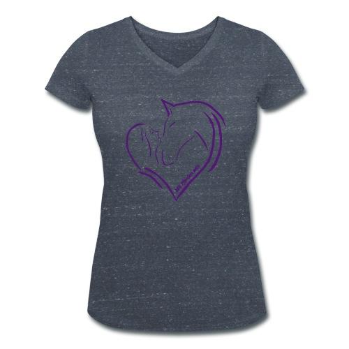 Front: Heart, Back: Personalisierbar V-Shirt (Print Digital Violet) - Frauen Bio-T-Shirt mit V-Ausschnitt von Stanley & Stella