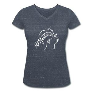 Front: Proud Horse, Back LOGO Schriftzug V-Shirt (Print Digital White) - Frauen Bio-T-Shirt mit V-Ausschnitt von Stanley & Stella