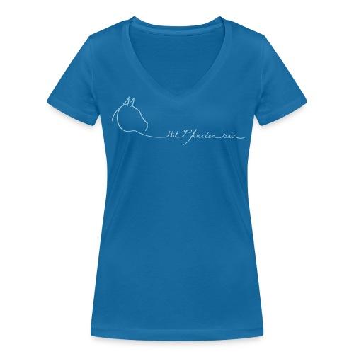 Front: LOGOSchriftzug  V-Shirt (Print Digital LIght Blue) - Frauen Bio-T-Shirt mit V-Ausschnitt von Stanley & Stella