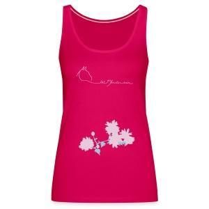 Flowers & LOGOSchriftzug, Women Tank Top (Print:Digital Petrol/Rosé) - Frauen Premium Tank Top
