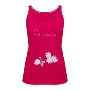 Flowers & LOGOSchriftzug, Women Tank Top (Print:Digital Petrol/Rosé) - Frauen Premium Tank Top
