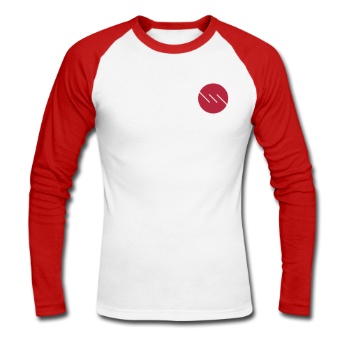 Dot | Raglan | Red - Men's Long Sleeve Baseball T-Shirt