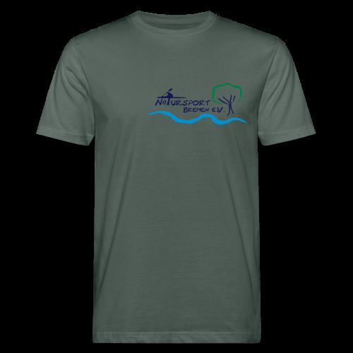 T-Shirt Männer, Öko-Baumwolle, Logo klein, vorne & mehrfarbig, Flexdruck glatt - Männer Bio-T-Shirt