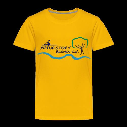 T-Shirt Kinder, gute Qualität, Baumwolle, Logo vorne und mehrfarbig, Flockdruck samtig - Kinder Premium T-Shirt