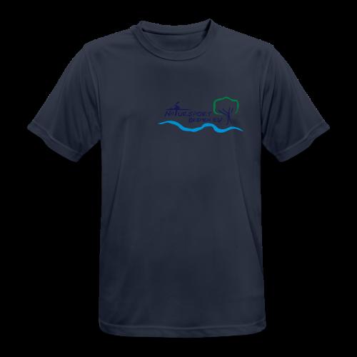 T-Shirt Männer, schnelltrocknend und atmungsaktiv, Logo klein, vorne & mehrfarbig, Flexdruck glatt - Männer T-Shirt atmungsaktiv