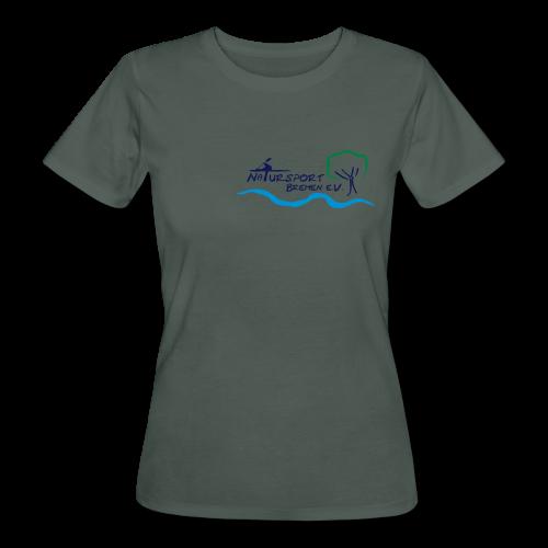 T-Shirt Frauen, Öko-Baumwolle, Logo klein, vorne & mehrfarbig, Flexdruck glatt - Frauen Bio-T-Shirt