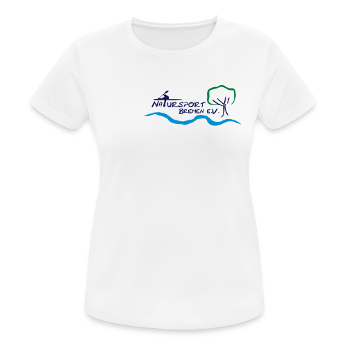 T-Shirt Frauen, schnelltrocknend und atmungsaktiv, Logo klein, vorne & mehrfarbig, Flexdruck glatt - Frauen T-Shirt atmungsaktiv
