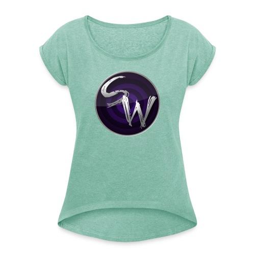 woman round logo shirt - Vrouwen T-shirt met opgerolde mouwen