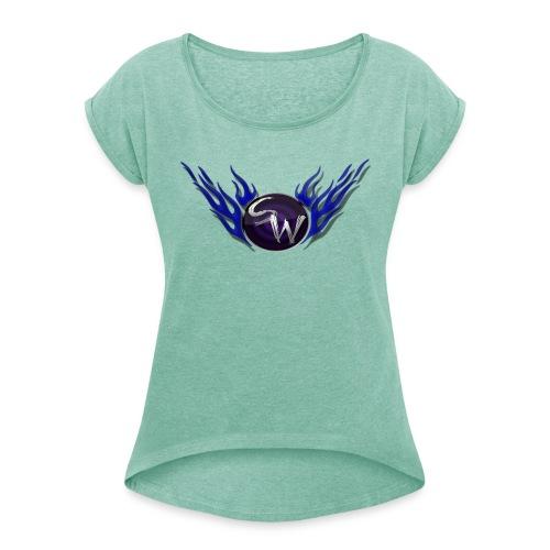 woman flame logo shirt - Vrouwen T-shirt met opgerolde mouwen