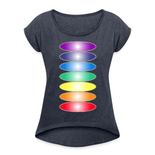 T-shirt Femme à manches retroussées Couleurs des chakras - Women's T-Shirt with rolled up sleeves