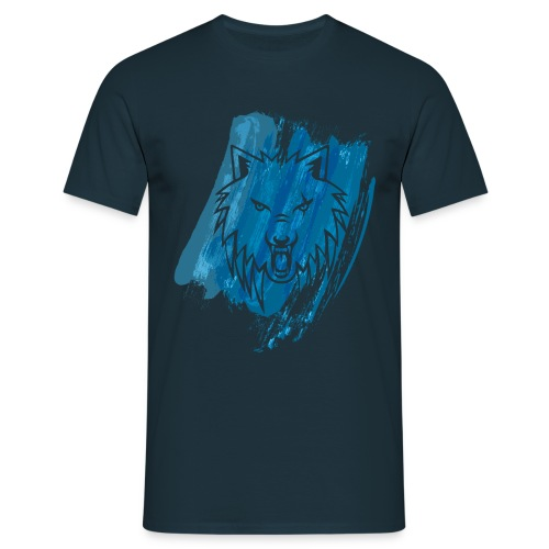 Apollo Wolf paint brush Blue - Men's T-Shirt