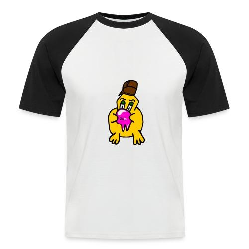 hvid shirt med sorte ærmer og kylling - Kortærmet herre-baseballshirt