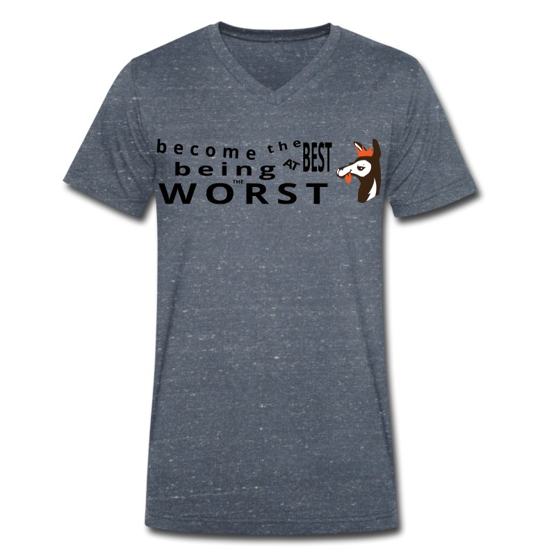 Best at Worst Man's Gray T-Shirt - Men's Organic V-Neck T-Shirt by Stanley & Stella