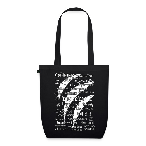 Werewolf in 33 Languages - EarthPositive Tote Bag (Black Ver.) - Ekologiczna torba materiałowa