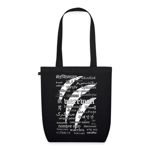 Werewolf in 33 Languages - EarthPositive Tote Bag (Black Ver.) - EarthPositive Tote Bag