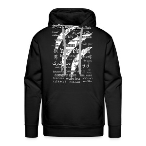Werewolf in 33 Languages - Men's Premium Hoodie (Black Ver.) - Bluza męska Premium z kapturem