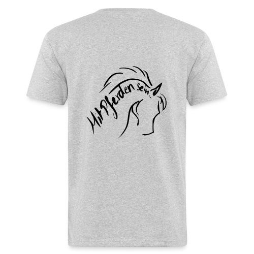 Front: Rearing Up Schriftzug, Back: Proud Horse, Bio Menshirt [Print:Black) - Männer Bio-T-Shirt