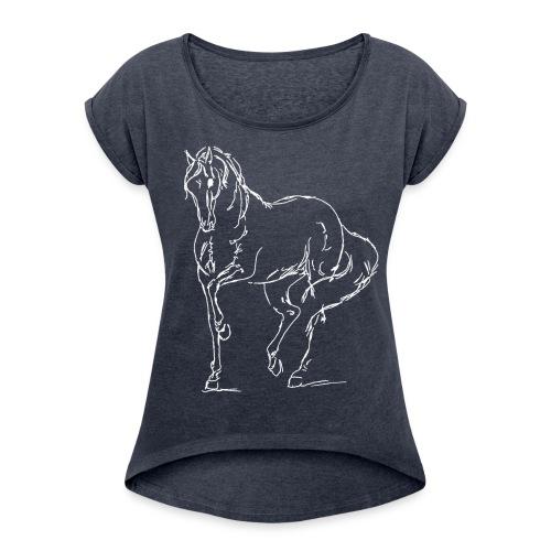 Piaffe White Boyfriendshirt - Frauen T-Shirt mit gerollten Ärmeln