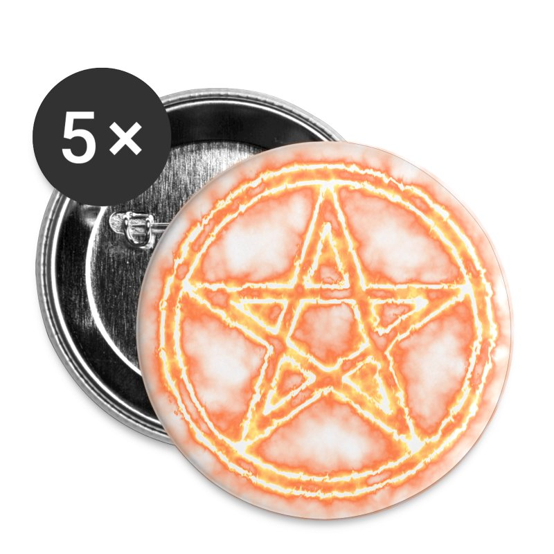 Button Pentagramm Orange - Buttons groß 56 mm