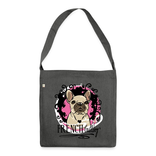 French Bulldog pink  - Schultertasche aus Recycling-Material